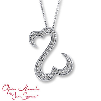 Open Hearts by Jane Seymour® Diamond Necklace The signature open hearts design is decorated in brilliant round diamonds in this breathtaking necklace for her. 1/2 carat total weight. Set in 14K white gold.