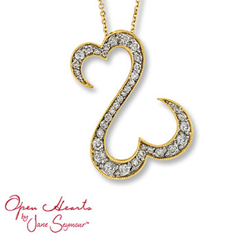 Open Hearts by Jane Seymour® Diamond Necklace    Irresistible open hearts of 14K yellow gold are decorated in dazzling round diamonds to create this lovely necklace for her. One carat total weight.