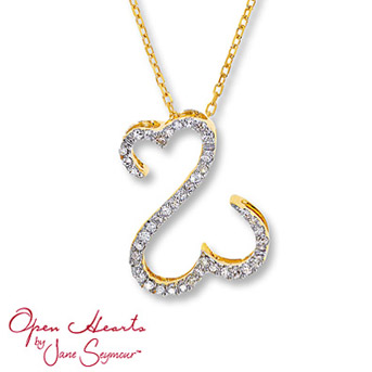 Open Hearts by Jane Seymour® Diamond Necklace    Round diamonds dance along the Open Hearts for spectacular sparkle. Set in 14K yellow gold. 1/10 carat total weight.