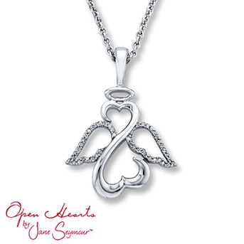 Open Hearts by Jane Seymour® Angel Diamond Necklace Open Hearts form an angel in this inspiring necklace for her. Sterling silver wings feature diamond accents for alluring sparkle. 1/10 carat total weight.