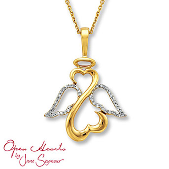 Open Hearts by Jane Seymour® Angel Diamond Necklace Delicate wings of 14K yellow gold are dressed in round diamonds for the perfect touch of sparkle. 1/10 carat total weight.