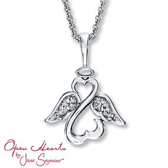 "Open Hearts by Jane Seymour® Angel Diamond Necklace    The iconic Open Hearts design forms an ""Angel"". Diamond-decorated wings and a halo complete the inspiring style. Crafted in sterling silver."