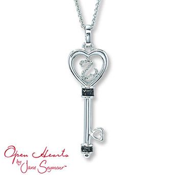 Open Hearts by Jane Seymour® Diamond Key Necklace    A heart of sterling silver surrounds a diamond-decorated Open Heart for lovely style. Black diamond accents.