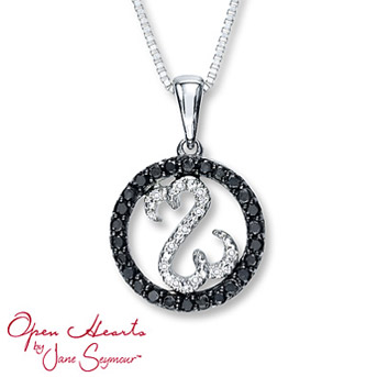 Open Hearts Necklace 1/6 ct tw Diamonds Sterling Silver Black Diamonds are treated to permanently create the intense black color. Diamond Total Carat Weight may range from .145 - .17 carats.