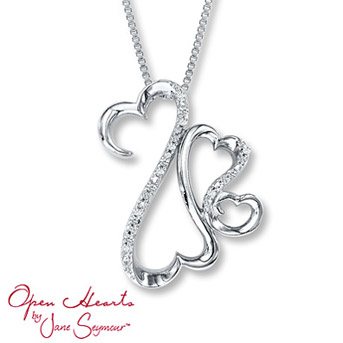 Open Hearts Necklace 1/20 ct tw Diamonds Sterling Silver    Suspended from an 18-inch box chain secured with a lobster clasp. Diamond Total Carat Weight may range from .04 - .06 carats.