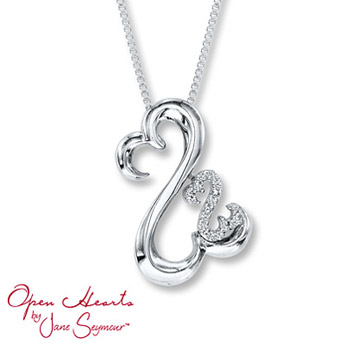 Open Hearts Necklace Diamond Accents Sterling Silver    A sparkling Open Hearts design is decorated with round diamonds, from the Open Hearts Family by Jane Seymour™ collection.