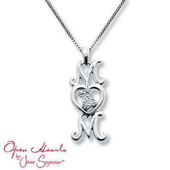 "Open Heart ""Mom"" Necklace Diamond Accents Sterling Silver The heart is filled with a diamond-decorated Open Hearts design for exceptional style."