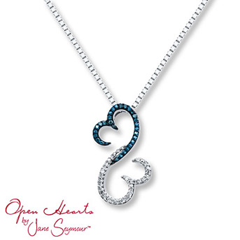 Open Hearts Necklace 1/6 ct tw Diamonds Sterling Silver    Blue diamonds are treated to permanently create the intense blue color. Diamond Total Carat Weight may range from .145 - .17 carats.