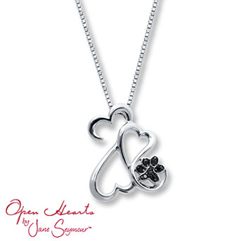 Open Hearts Necklace 1/20 ct tw Black Diamonds Sterling Silver This heartwarming necklace includes a paw print, fashioned with black diamonds, to include a family pet.