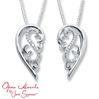 Open Hearts Necklace Set 1/10 ct tw Diamonds Sterling Silver    This heavenly necklace features two angel wings that come apart - one is for you, one is for someone you hold dear.