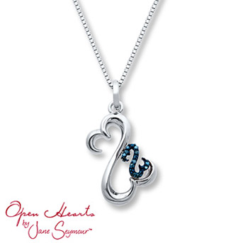Open Hearts Necklace Blue Diamonds Sterling Silver    This heartwarming necklace symbolizes a mother (the larger Open Heart in sterling silver) with her child (the smaller Open Heart.