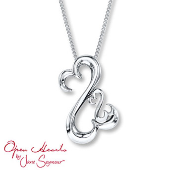 Open Hearts Family Necklace Sterling Silver    A sterling silver Open Heart design is nestled within a larger Open Heart in this memorable family necklace.