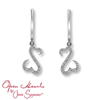 Open Hearts by Jane Seymour® Diamond Earrings Each earring features the signature open hearts design decorated in round diamonds for spectacular sparkle. Set in 14K white gold. 1/10 carat total weight.