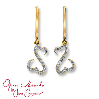 Open Hearts by Jane Seymour® Diamond Earrings    Each of these captivating earrings feature Jane Seymour's signature open hearts design. The open hearts are awash with stunning round diamonds for exceptional brilliance. Set in 14K yellow gold. 1/10 carat total weight.