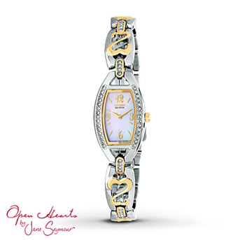 Open Hearts by Jane Seymour® Citizen Watch    From the Open Hearts by Jane Seymour® collection! Featuring a contemporary tonneau bezel, elegant white mother-of-pearl dial and two-tone stainless steel case and bracelet. Eye-catching Open Hearts dance along the bracelet for undeniable style.