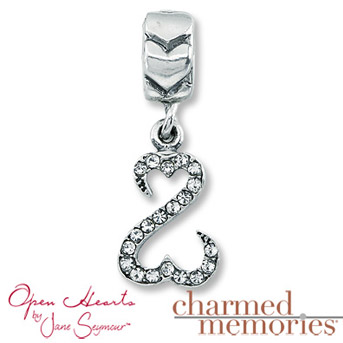Charmed Memories®Open Hearts by Jane Seymour® Crystal Charm Sterling Silver. Iconic Open Hearts design with Swarovski® Crystals.