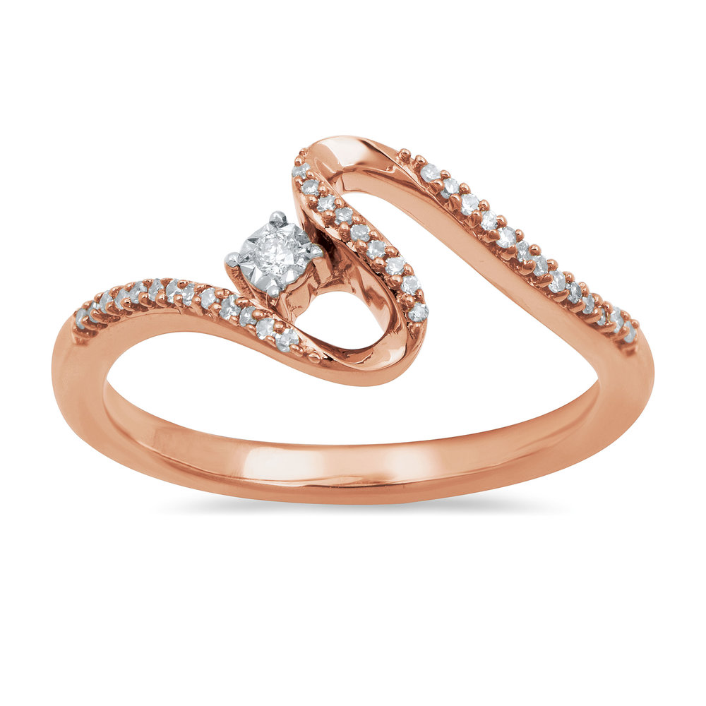 Open Hearts Road Ahead Ring 1/10 ct tw Diamonds 10K Rose Gold