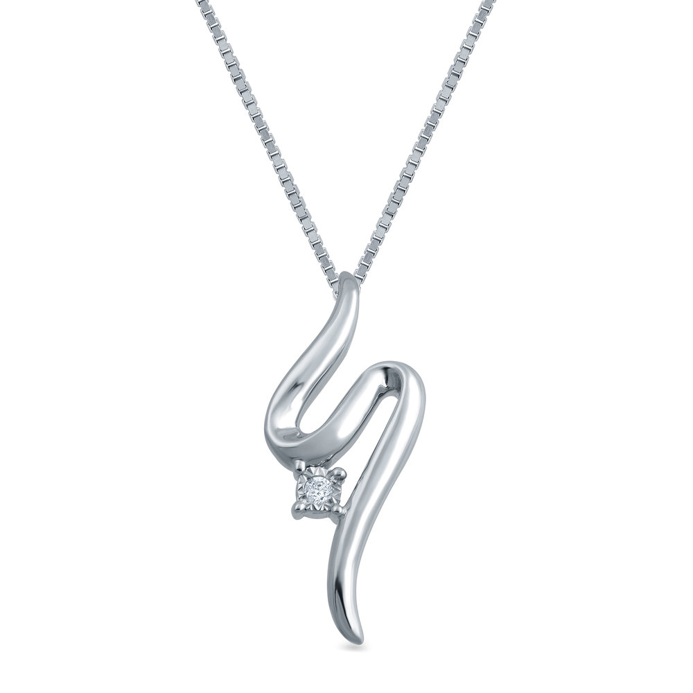 Open Hearts Road Ahead Diamond Necklace Sterling Silver