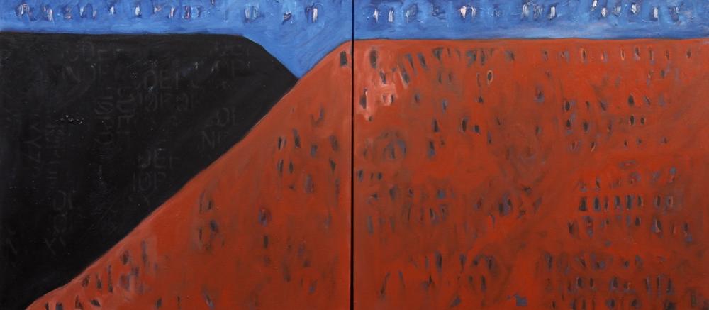"Black Mesa, Velarde, NM   oil on canvas  20"" x 44"" (diptych)  2014  $1,800"
