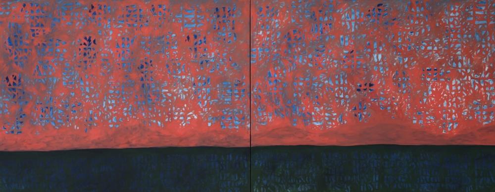 """Mackerel Sky   oil on canvas  48"""" x 120"""" (diptych)  2015  $12,000"""