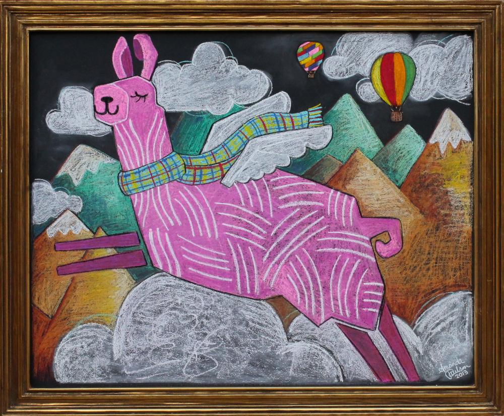 Flying Llama chalk illustration
