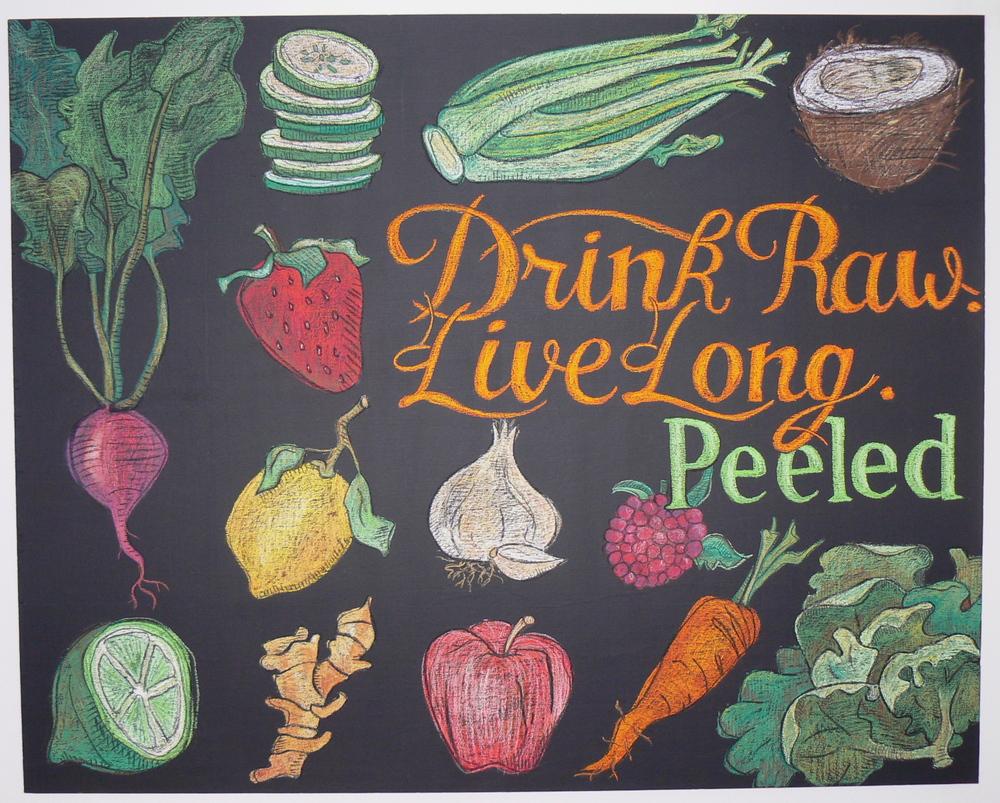 Fruits and Vegetables chalk illustration
