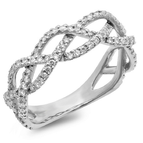 product halo bc white wedding sz gold round engagement tone crossover braided rings set cttw two rose the ring diamond