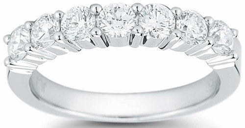 c5e8b3a5d382 Round Brilliant 1.00 ctw VS2 Clarity, I Color Diamond Platinum Seven-Stone  Band 1