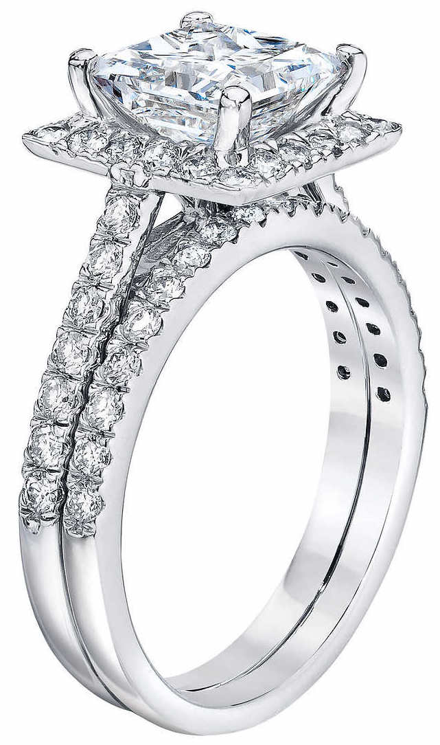 Delicieux Princess Cut 2.27 Ctw VS2 Clarity, G Color Diamond Platinum Halo Wedding Set