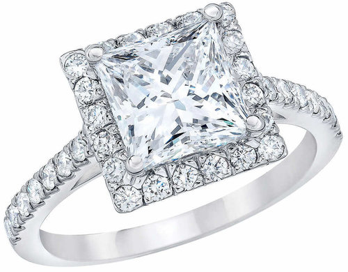 Princess Cut 227 Ctw VS2 Clarity G Color Diamond Platinum Halo Wedding Set