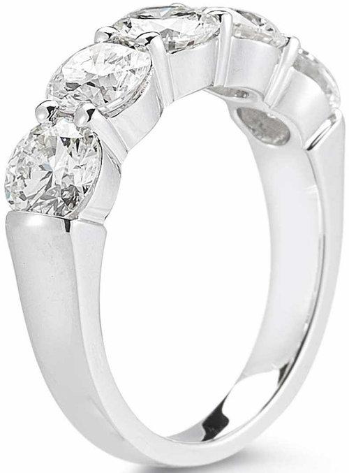 fbf2435b0 Round Brilliant 3.00 ctw VS2 Clarity, I Color Diamond Platinum Five Stone  Ring