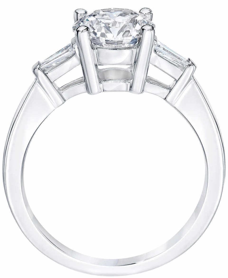 cfb1a95ee5a Round Brilliant 2.10 ctw VS1 Clarity, H Color Diamond Baguette Platinum Ring