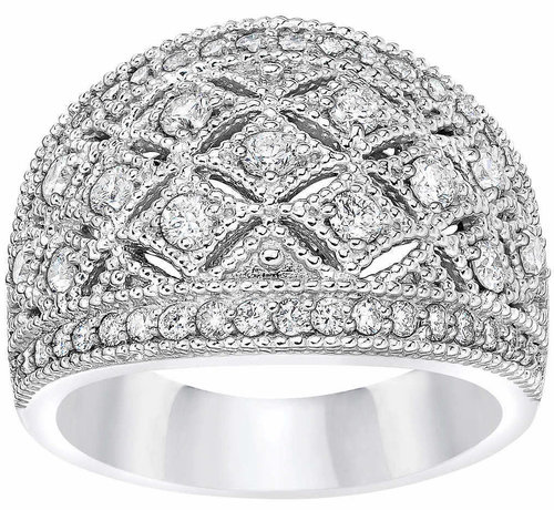 d8bb0c2bfda3 Round Brilliant 1.00 ctw VS2 Clarity, I Color Diamond 14kt White Gold Band  1.