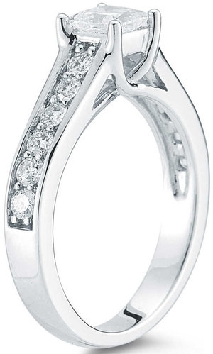 8bc562089fca Princess Cut & Round Brilliant 1.00 ctw VS2 Clarity, I Color Diamond 14kt  White Gold Ring