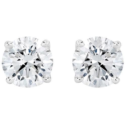 d023c80b2 Round Brilliant 3.00 ctw VS2 Clarity, I Color Diamond Platinum Screwback  Stud Earrings