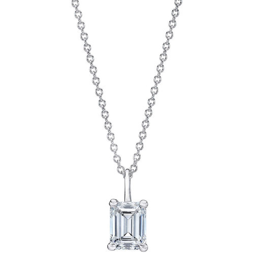 Diamond jewelers engagement wedding bands and fine jewelry emerald cut 150 ct vs2 clarity i color diamond 18kt white gold solitaire necklace aloadofball Choice Image