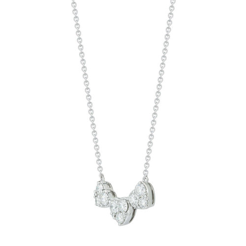 e90e526ddbf2 Round Brilliant 1.00 ctw VS2 Clarity, I Color Diamond 14kt White Gold Three  Heart Shape Necklace
