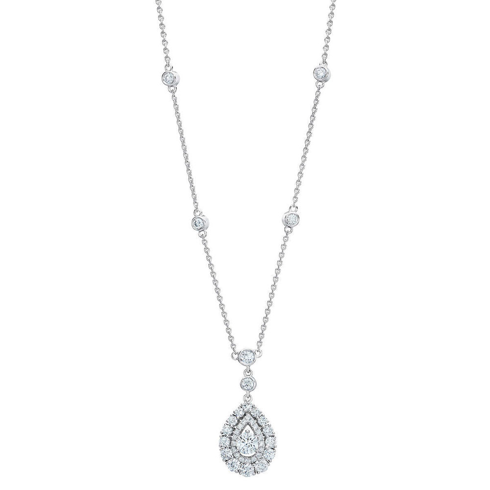 solitaire product brilliant halo in and tcw gold total diamond set carat cut with diamonds center white bezel of round weight karat necklace