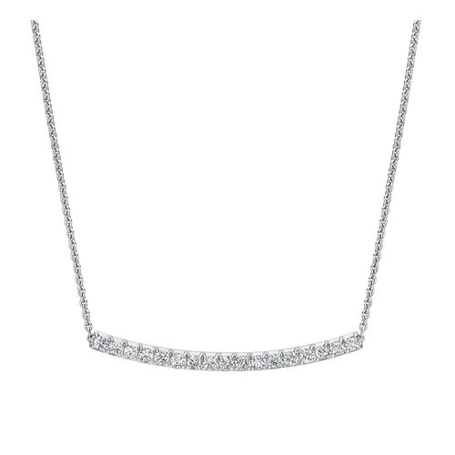 e5876f290d44 Round Brilliant 1.00 ctw VS2 Clarity, I Color Diamond 14kt White Gold Bar  Necklace.