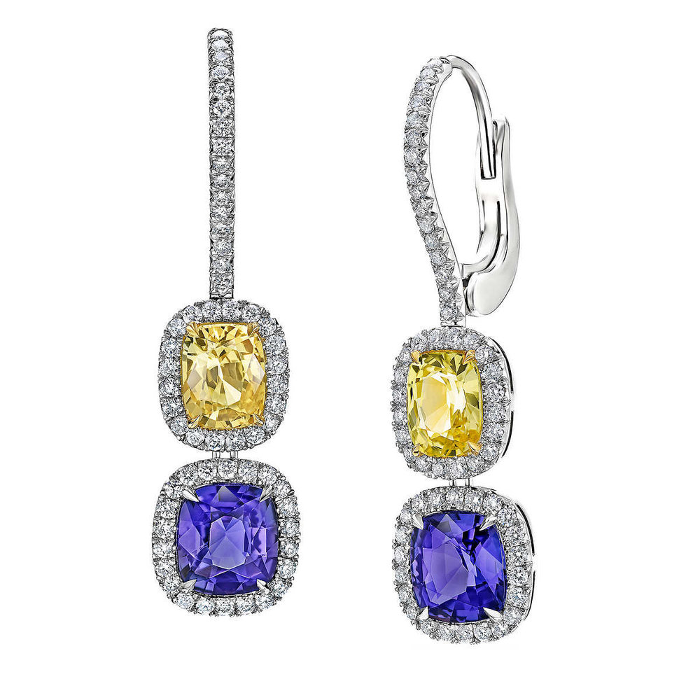 item luxury f earrings full yellow gold diamond jewelry natural sapphire