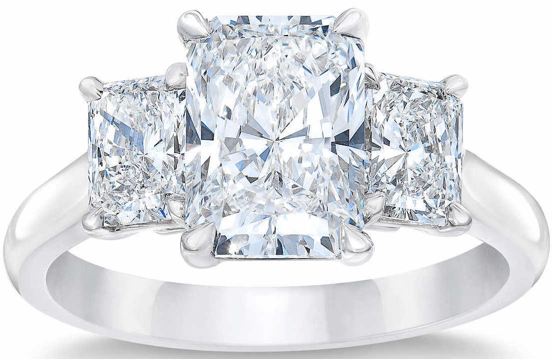Radiant Cut 4 62 Ctw Vs1 Clarity E Color Diamond Platinum Three Stone Ring,Wall Mounted Cell Phone Holder