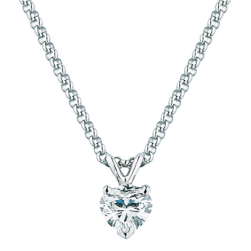 HEART SHAPE 0.70 CT VS2 CLARITY, I COLOR DIAMOND 14KT WHITE GOLD SOLITAIRE NECKLACE