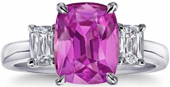 CUSHION CUT PINK SAPPHIRE & DIAMOND PLATNIUM RING