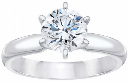 ROUND BRILLIANT 1.33 CT VVS2 CLARITY, D COLOR DIAMOND PLATINUM SOLITAIRE RING