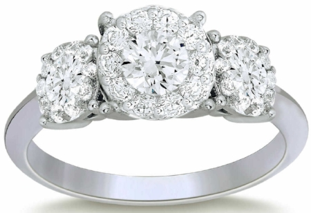 ROUND BRILLIANT 1.44 CTW VS2 CLARITY, I COLOR DIAMOND PLATINUM THREE STONE RING