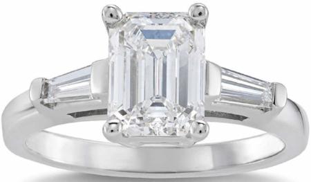 EMERALD CUT 2.36 CTW VVS1 CLARITY, H COLOR DIAMOND BAGUETTE PLATINUM RING