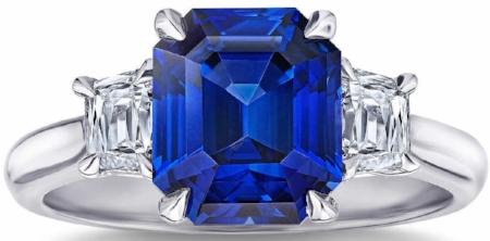 EMERALD CUT BLUE SAPPHIRE & DIAMOND PLATINUM RING