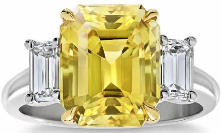 EMERALD CUT YELLOW SAPPHIRE & DIAMOND PLATINUM RING