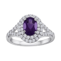 February's birthstone is the beautiful crystalline amethyst.  The natural druzy texture is something a daring bride would love.