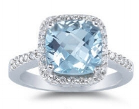 Aquamarine, a beautiful light blue gem, is a stunning option for an  engagement ring . Available in all different intensities of blue, some aquamarines can even be confused with diamonds!